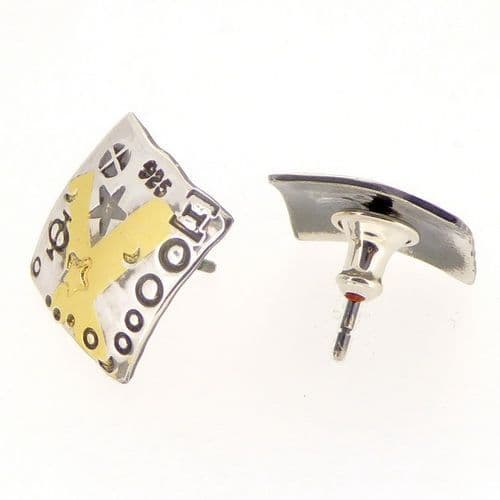 Square ear studs handmade keum boo silver with gold crosses